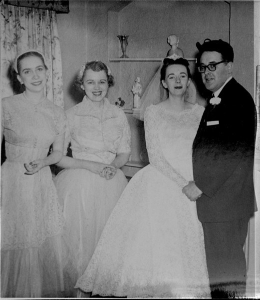 Barb's wedding to Jack Dugan - 1956  <p> L to R me, Doll,  the bride and groom