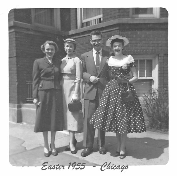 Doll, Barb (Ann), Ron H, Barb.  in front of Barb's apartment building on Rosemont and Winthrop