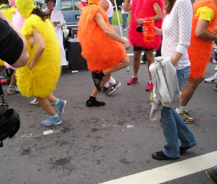 Orange and yellow and red...umm...chickens?...dancing in the street.