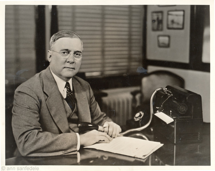 Arthur E. Blackstone in his office at Dictaphone in Chicago.  Blackstone was Chicago District Manager  between 1923 and 1945.