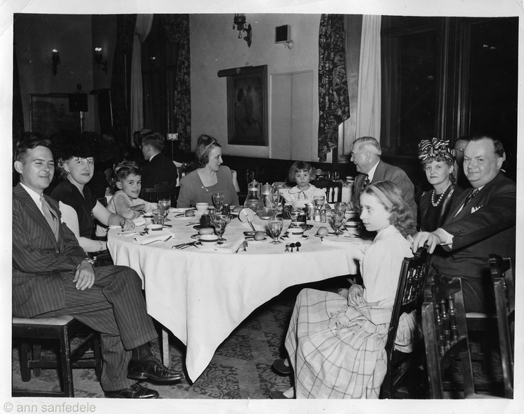 1947 or 1948... at the Union League Club in Chicago.  Art jr, ann's aunt Midge, Art III, Ann's mother Jean, Graciella, Pop(Art Sr), Bette, Ann's Uncle Richard, Ann.