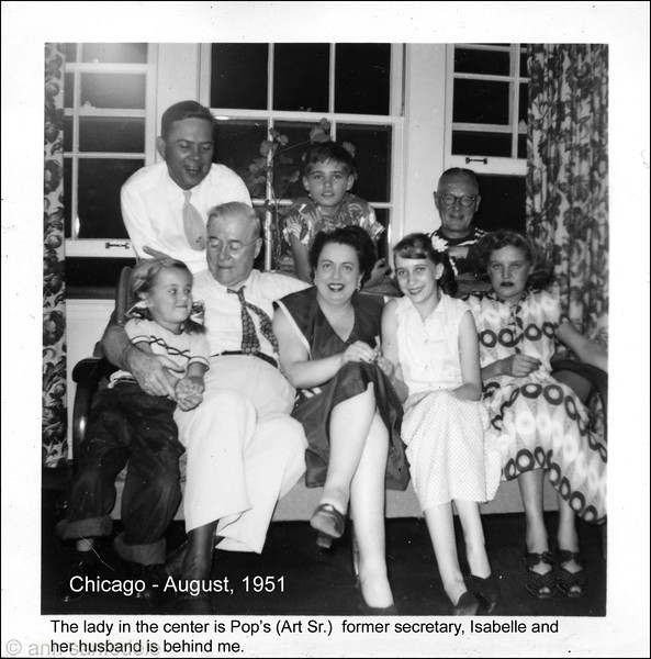 Chicago - August 1951  3 generations of Arts with Gracie, Babs ( Ann) amd Betty--- <p> front row - graciella, Art Sr, Isabelle, Babs (Ann) Bette <p> back row Art Jr. Art III, Isabelle's husband - I think.