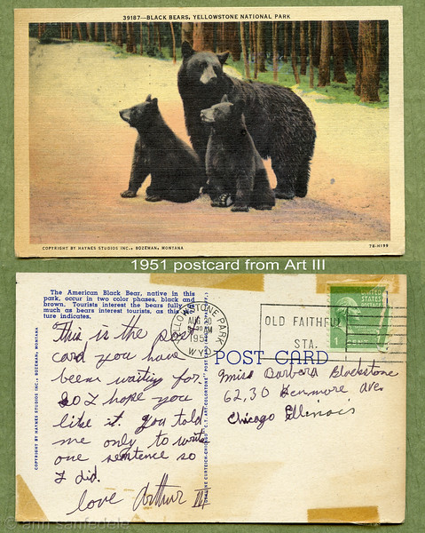 """Looking through my high school scrapbook I found this postcard , labeled """"from little art"""" post park is August 20th, 1951"""