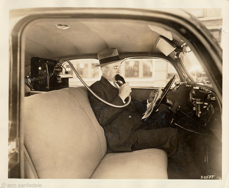 My father, Arthur E. Blackstone, was the Chicago District Manager for Dictaphone from about 1923  to  1945.  Here he is using the Dictaphone in our car... but I'd like to know what car.... we got a Studebaker President in 1941, but I'm pretty sure this ain't that.. in fact, now that I see photos of the studie you havent' seen yet, i know it isn't...<br /> Anyone???  I'm looking for more pictures from before 1941 with a car in it.