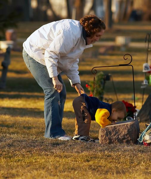 Amy and Sebastian at Grandma's grave (Barbie)