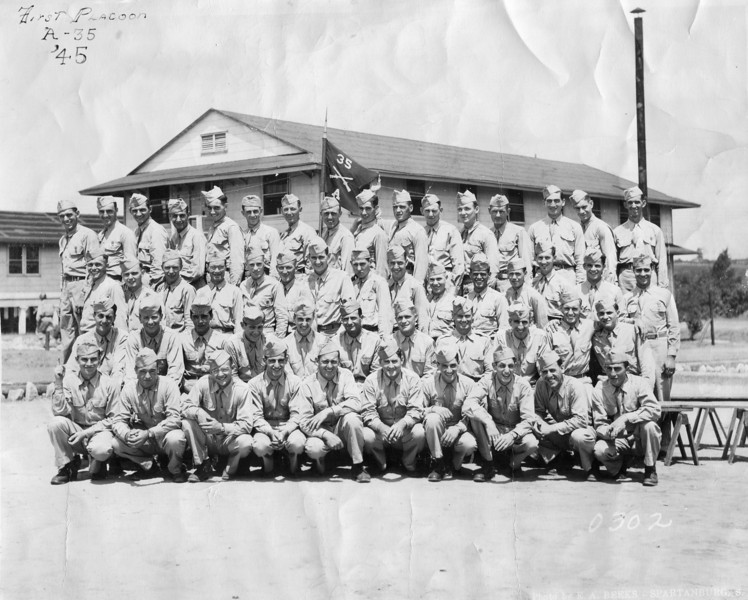 Wallace Eldredge, back row, 6th from left. First Platoon Company A, 35th Battalion. 1945. Camp Croft, South Carolina.