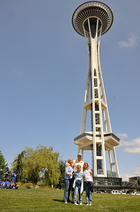 Visiting the Space Needle with Bob and Karla and the kids.