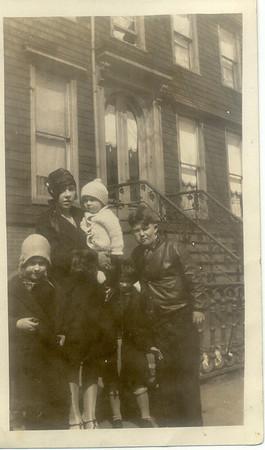 """1928: Bessie Hampton Frost, George F Frost, Kate Brennan, Billy Cuddy, Margaret """"Tiny"""" Brennan."""