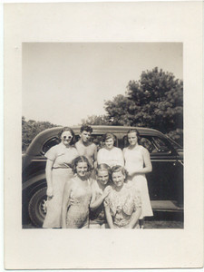 "1938, August: Nan Brennan, Billy Cuddy, Margaret ""Tiny"" Brennan, Marie Keeney, Helen Keeney, Mary Kelly, Kate Brennan.  Mastic, NY."