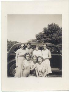 "1938, August: Nan Brennan, Billy Cuddy, Margaret ""Tiny"" Brennan, Marie Keeney, Helen Keeney, Mary Kelly, Kate Brennan.  Mastic, NY."