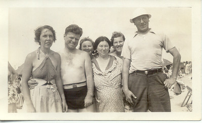1937, July 20: Bessie Hampton Frost, George Patrick Frost, Nan Brennan, Margaret Henry Brennan, Kate Brennan, Jim Brennan Sr.  Riis Park.