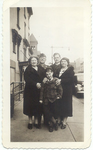 1943, April: Mary Henry Frost, George Patrick Frost, Brother Henry, Lillian Henry Cuddy, Gerard Frost.  479 Lafayette Avenue, Brooklyn.
