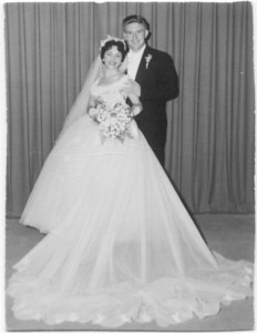 1956: Stella & Jack Warnock, wedding.