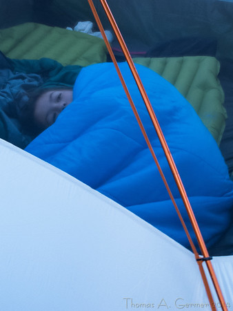 Lazing in the tent.