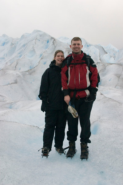 Jen and I standing on top of Perito Moreno glacier, Patagonia, Argentina. That's the last time I let a blind monk give me a haircut.