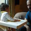 Finn eatting with dad