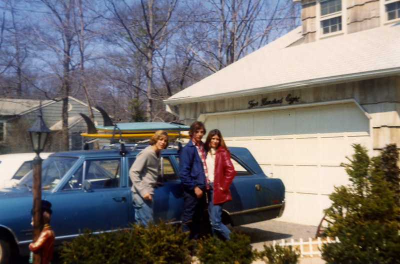 Dave and Al Schroeder, Nancie Ellisen at Al's house, April 1972