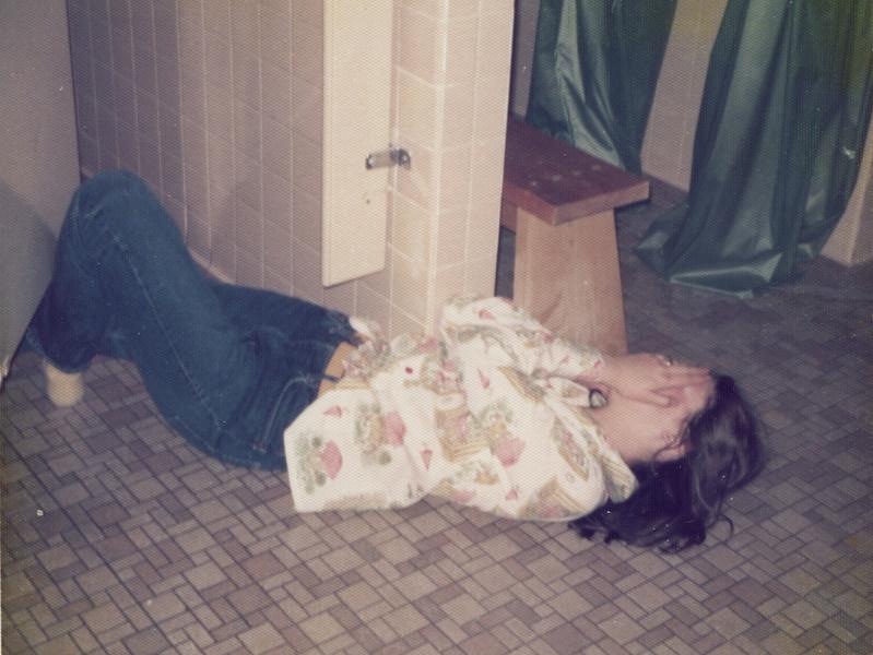Debbie in Burdick dorm bathroom