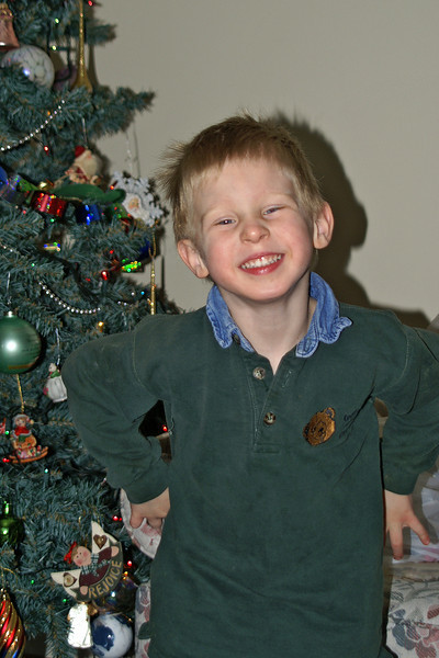 John hamming it up for the camera while decorating the tree.