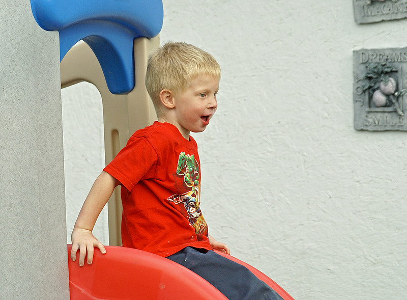 Checking out the slide.