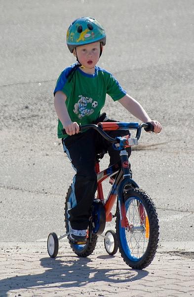 John riding his new bike.