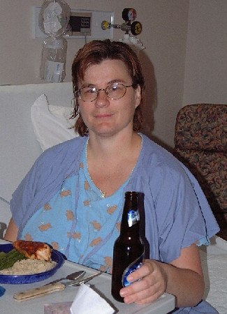 Can you believe it? Wendy having a BEER while in the hospital.