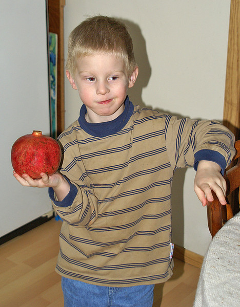 John was pretty excited about that pomegranate.