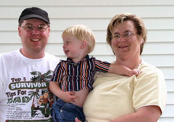 Again, a rare photo (one with me in it, and one with all three of us).<br /> <br /> In our front yard.