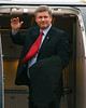 Prime Minister Stephen Harper waves as he boards his Canadian Air Force Canadair CC-144B Challenger at the Dryden Regional Airport.<br /> <br /> I was the only one on the ramp taking photos. The press was not even allowed to be at the airport when the PM arrived.<br /> <br /> He is neither 'Friend' OR 'Family', but where else do I put this photo!?