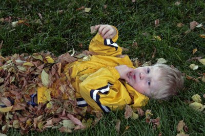 Buring himself in the leaves. It must be nice to be a kid!