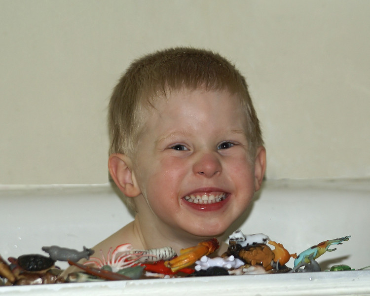 Johns playing with some of his toy animals while in the bath.