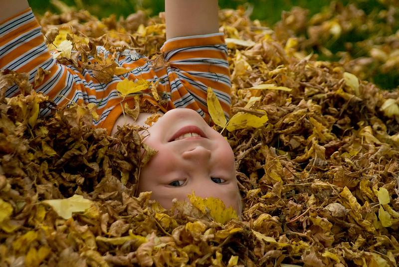John playing in a pile of leaves in the front yard.