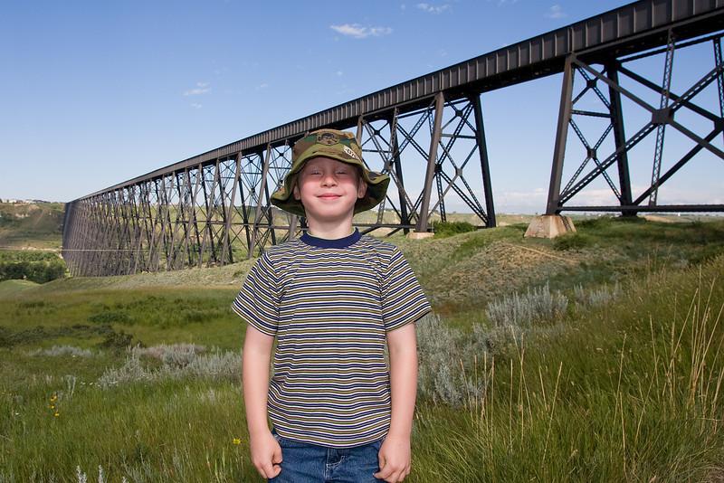 John with the CP Rail High Level Bridge in the background. Lethbridge, Alberta.