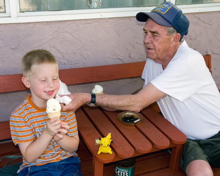 John and Granpa Ed enjoying an ice cream cone.