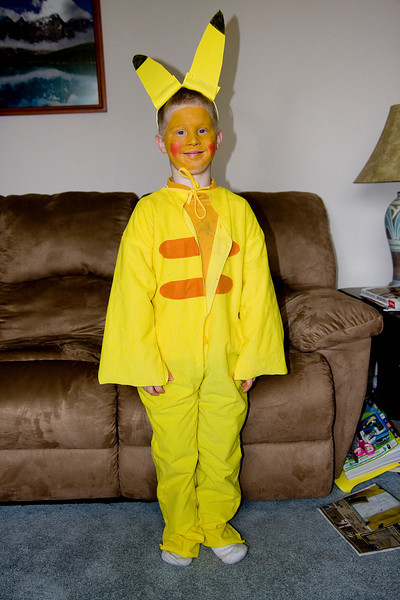 John decided to go as Pikachu for Halloween this year.