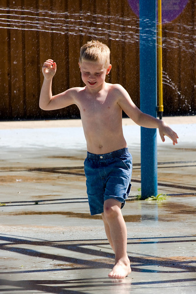 The Kamloops Wildlife Park had a water park for kids. Here John is cooling off a bit. It was around 32C degrees that morning.