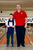 John with his Master Bantam Second Place Team (2011-2012) award, his Master Bowler posing with him.