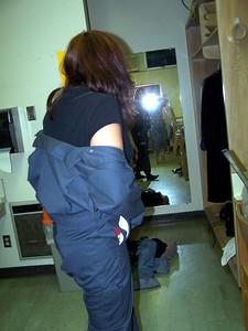 Market Night: Diana fits herself into Kayla's costume.