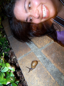 Evynne and the snail.
