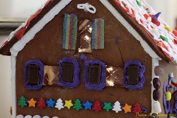 Amy's and Pam's Ginger Bread House.  Notice the lights.