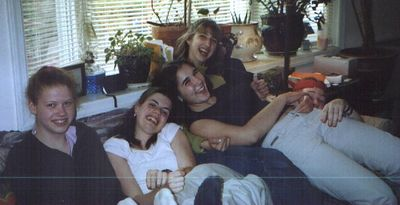 Kirah, Cate, Kaylyn, Kristie, bumming around on Rachel's couch, probably summer 2002.