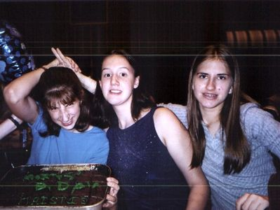 Kristie, Allie, Carol, on Kristie's birthday in the high school cafetorium.