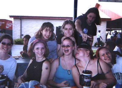 Hershey Park -- Cate, myself, Kristie, Carol, Kirah, Melissa, Kara, and a girl whose name I don't remember (but she was an alto!), band/chorus trip to Hershey, PA, 2002.
