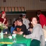 A bunch of folks hanging around during intermission at Poet's Cafe, probably 2002?