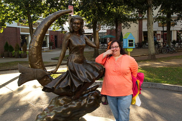 Tracy with the Bewitched Statue in Salem, Massachusetts - October 19th, 2017