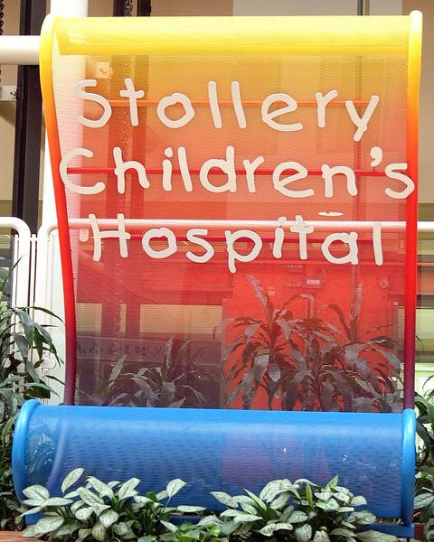This sign is found on the main floor, near one of the entrances. The Stollery family are the ones that made this Children's Hospital possible.