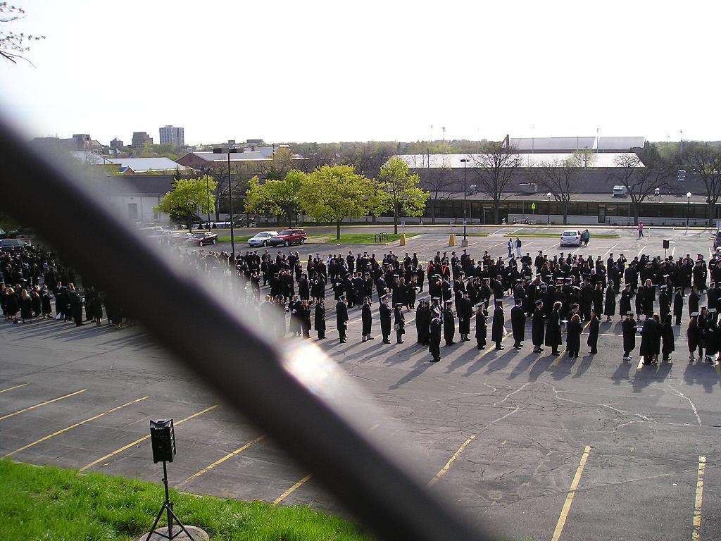 Grads lining up outside michigan stadium