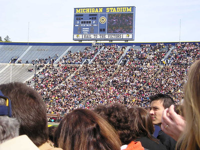 The graduation crowd filled about 1/3 of the stadium
