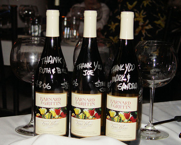 At a wine dinner: autographed bottles for all of us!