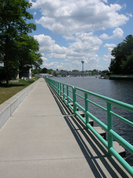 Walking along the waterway that connects Pentwater Lake to Lake Michigan